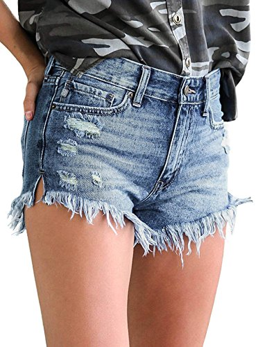 Lookbook Store Women's Mid Rise Frayed Ripped Raw Hem Denim Jean Shorts Blue Color, Size L by Lookbook Store (Image #2)