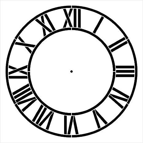 StudioR12 - Plantilla de reloj para el hogar con números romanos - Plantilla reutilizable de Mylar - Pintura, tiza, medios mixtos - STCL2332 - Tamaño ...