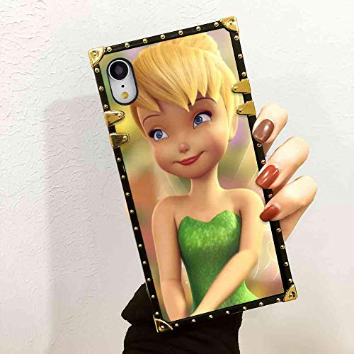 DISNEY COLLECTION Square Cell Phone Case Fits for iPhone Xr (2018) (6.1inch) Blonde Disney Fairy Green Tinkerbell (1956 Bell Telephone)