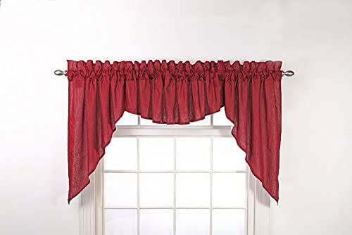 Stylemaster Renaissance Home Fashion Emery 3-Piece Lined Swag Set, 116-Inch by 45-Inch, Burgundy