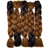 "Forevery Braiding Hair Synthetic Ombre Hair Kanekalon Braiding Hair High Temperature Fiber Crochet Twist Braids Black to Brown Ombre (24"", 3)"
