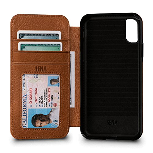 - Bence Wallet Book Leather Case for iPhone Xs & X (Tan)