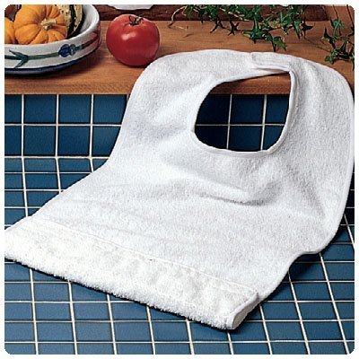 Patterson Medical Terry-Cloth Food Catcher, Standard White - Pack of 10
