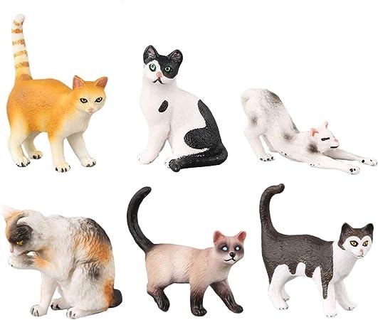 Toyvian 6pcs simulación del Gato de Juguete de plástico Modelo de Gato Ornamentos para niños niños: Amazon.es: Hogar