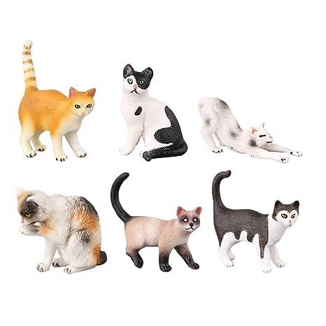 YeahiBaby 6 unids niños Figura Animal Realista Gato Modelo de Juguete de educación temprana Juguetes cognitivos