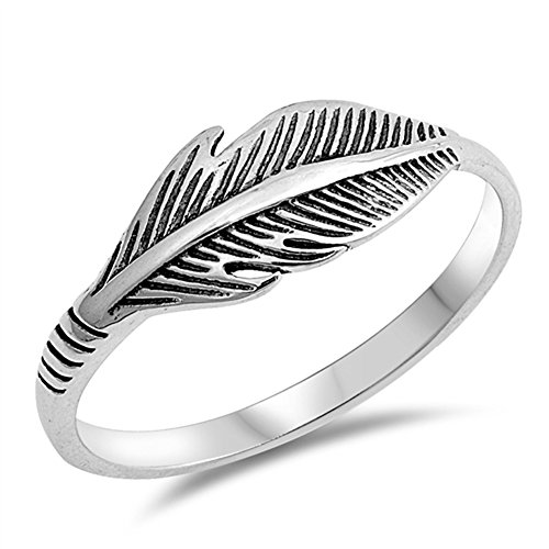 Feather Cute Simple Bird Leaf Thumb Ring New 925 Sterling Silver Band Size 5