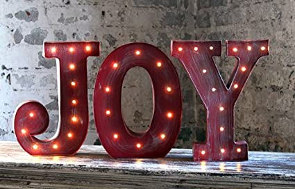 Amazoncom 10 Inch Lighted Metal Joy Sign Home Kitchen