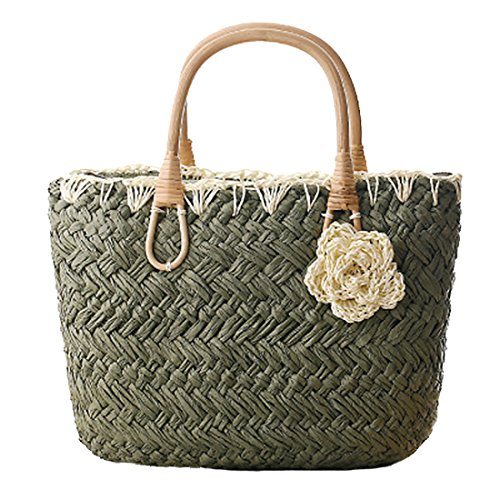Oscuro TOYIS Bolso straw de mujer para Verde bags tela Zq8rPZ