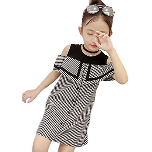Outtop(TM) 1Pcs Newborn Toddler Kids Baby Girls Clothes Infant Kids Plaid Print Sleeveless Princess Party Dress Casual Clothing (5T(4~5years), Black) by Outtop(TM)