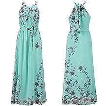 Ensnovo Womens Bohemia Floral Chiffon Long Dress Summer Beach Maxi Dress