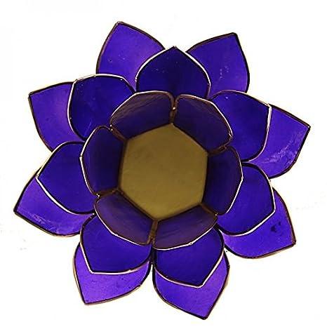 2 x 6th Chakra Indigo Bleu Fonc/é Fleur De Lotus bougeoirs faite de PLACUNE vitr/ée avec garniture dor/é