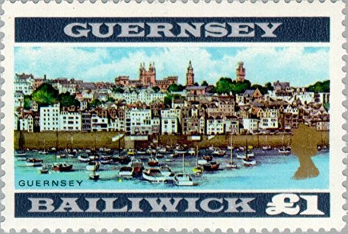 Guernsey (Great Britain Issues) - Scott #23 - One Pound - St. Peter Port in Guernsey - From 1969 - Collectible Postage Stamps