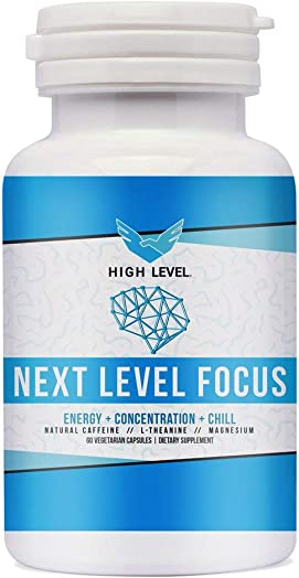 High Level Next Level Focus Caffeine with L-Theanine and Magnesium for Sustained Energy Focus – Focused Energy for Your Mind Body – No Crash