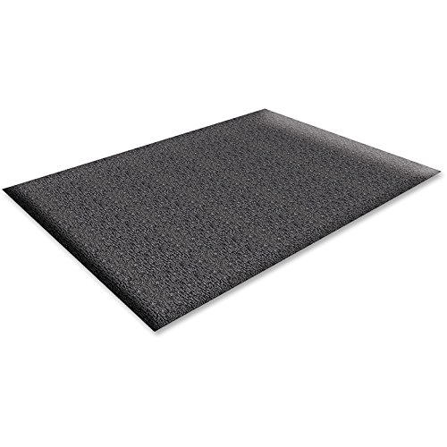 Genuine Joe Soft Step Anti-Fatigue Mat - Warehouse - 60quot; Length x 36quot; Width x 0.38quot; Thickness Overall - Vinyl - Black