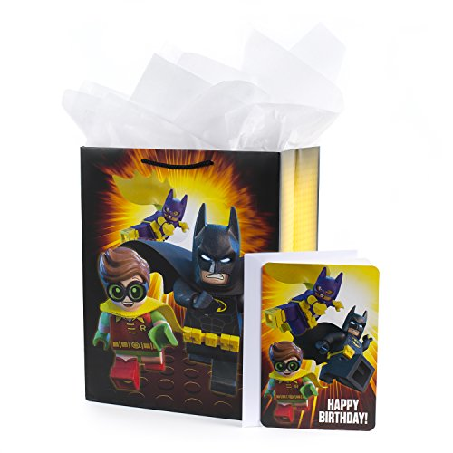 Hallmark Large Batman Gift Bag with Birthday Card and Tissue Paper (Lego Batman) - 5KFB1781