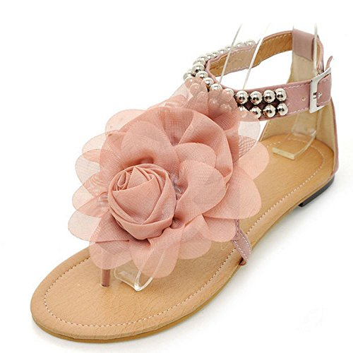 Zanpa Mujer Dulce Bohemia Flor Plano Chicas Sandales Rosa