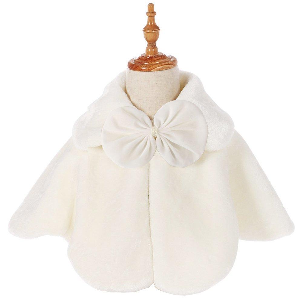 Fankeshi Ivory Flower Girl Faux Fur Shawl Wraps Cape Kids Wedding Communion M