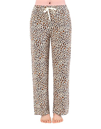 YIJIU Women's Pajama Pants Leopard Lounge Pants Plaid Bottoms Wide Leg Sleepwear (Leopard Lounge Pants)