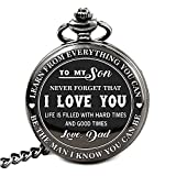 To My Son - Love Dad Pocket Watch with chain Birthday Gift Ideas To Son From Father - Black