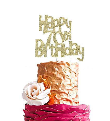 LissieLou Happy 70th Birthday Cake Topper Glitter Gold Amazonco