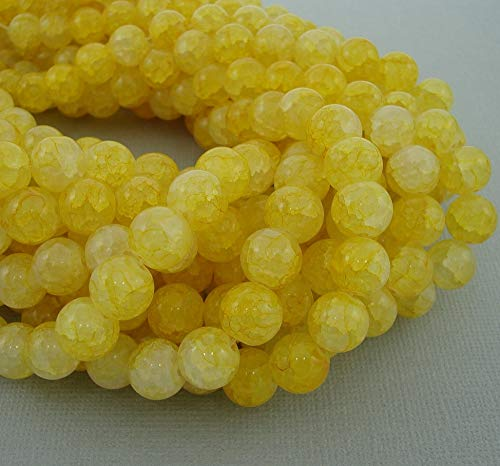 Findings Stop Brand-Glass Crackle Style Marble Round Immitation Jade Beads 10mm. (Champagne Yellow)