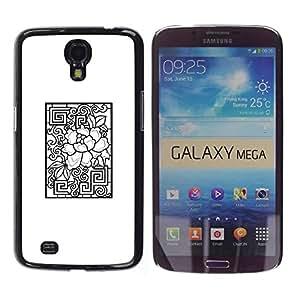 Be Good Phone Accessory // Dura Cáscara cubierta Protectora Caso Carcasa Funda de Protección para Samsung Galaxy Mega 6.3 I9200 SGH-i527 // Pattern White Black Abstract