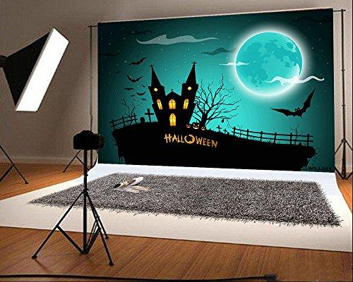 7x5ft (220x150cm) Cotton Halloween Backdrops Photography Black Castle Bats Scared Night Photo Studio Backgrounds (Halloween Decoartions)