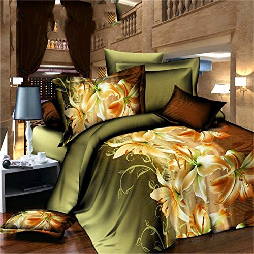 3D Queen Bedding Set 4pcs Floral Printed Double Quilt Cover+Sheets+Pillowcase Wedding Gifts,K-200230cm+220230cm+4874cm2 ()