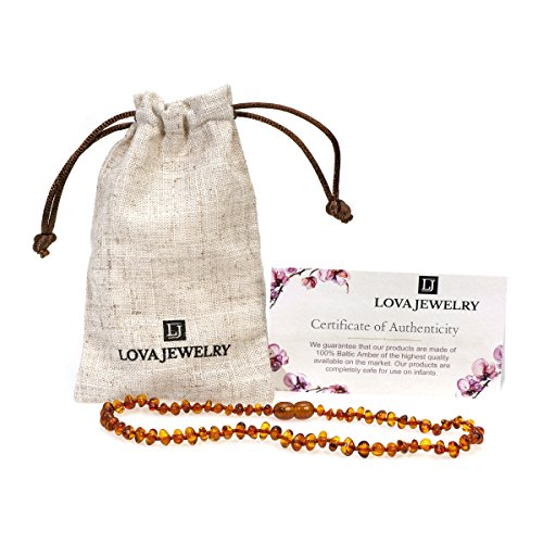 Lova Jewery Genuine Amber Teething Necklace | Pain Reducing & Anti-inflammatory | Ideal for Babies | Handmade in Lithuania, Europe (Cognac)
