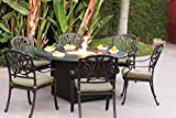 Darlee Elisabeth Cast Aluminum 7 Piece Dining Set with Seat Cushions, Antique Bronze Finish Review