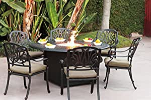 Darlee Elisabeth Cast Aluminum 7 Piece Dining Set with Seat Cushions, Antique Bronze Finish