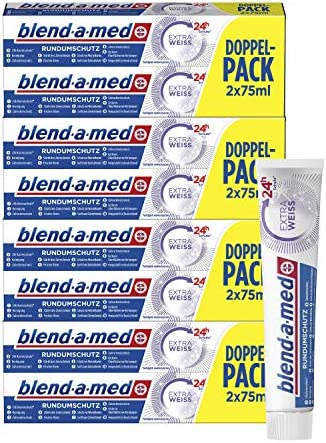 Blend-a-med Rundumschutz Extra Weiß Zahnpasta, 4er Pack (4 x 2 x 75 ml)