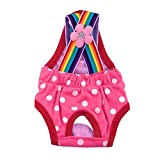 Rainbow Pet Dog Puppy Teddy Tighten Strap Diapers Washable Cotton Dog Physiological Nappies Nursing Pantie Underwear Dogs (Hot Pink, M)