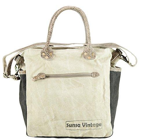 Sunsa Borse da Donna Vintage Borse a tracolla Borsette in Canvas / Telo olona con pelle 51904