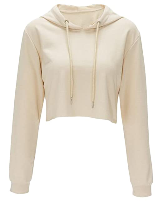 9cafa98f651 Women Long Sleeve Pullover Hooded Sweatshirt Casual Loose Crop Top Shirt  size S (Apricot)