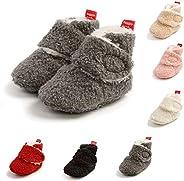 YWY Unisex Baby Boys Girls Booties Boots Socks Pre-Walkers Crib First Walkers Warm Fleece Booties with Non-Sli