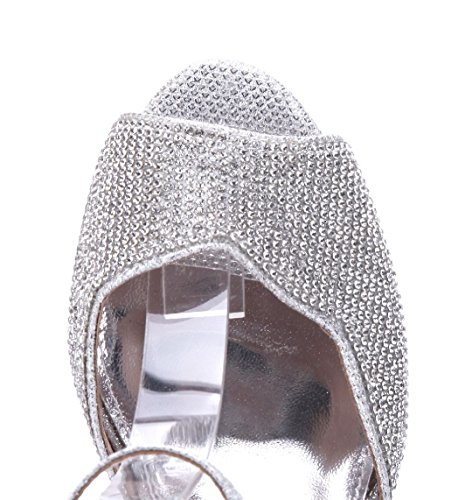 Schuhtempel24 Damen Schuhe Sandaletten Sandalen Trichterabsatz Glitzer/Ziersteine 7 cm Silber