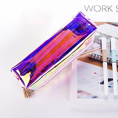 E-Goal Helle Farbe PU-Leder Transparente Bleistifttasche Schreibwaren Speicher Organizer Kosmetik Tasche Grelle Farbe eOvEGM1