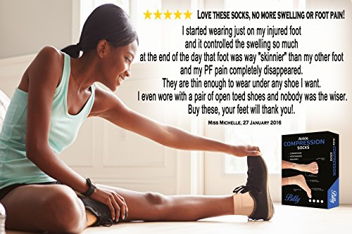 Bitly Plantar Fasciitis Socks (1 Pair) Premium Ankle Support foot Compression Sleeve (Nude, Large) by Bitly (Image #6)