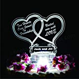 Double Heart Lighted Wedding Cake Topper Acrylic Cake Top Personalized