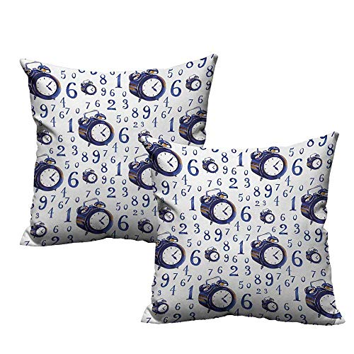 warmfamily Clock Creative Pillowcase Watercolor Style Effect with an Alarm Clock Illustration Caligraphic Numbers Suitable for Hair and Skin Health W23 x L23 Blue and White -