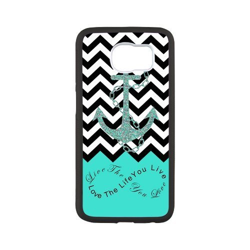 Live The Life You Love,Love The Life You Live.Black Chevron & Anchor Infinity Symbol Personalized Custom Best Plastic Hard Case for Samsung Galaxy S6 G9200 ()