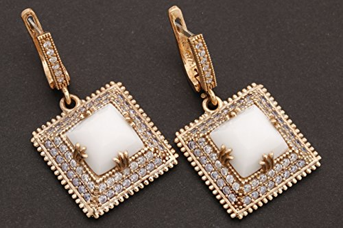 Turkish Handmade Jewelry Square Shape White Onyx Topaz and Round Cut Topaz 925 Sterling Silver Dangle/Drop Earrings
