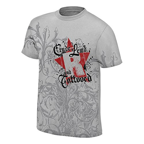 WWE Edge Crude, Lewd, and Tattooed Retro T-Shirt Light Grey Medium by WWE Authentic Wear