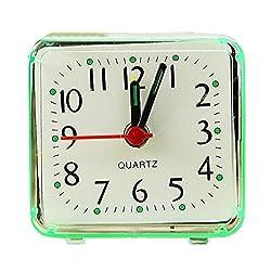 Ultra Small Lightweight Travel Alarm Clock, Portable Silent Non Ticking Analog Mini Quartz Beep Bed Alarm Clock, Battery Operated (Green)