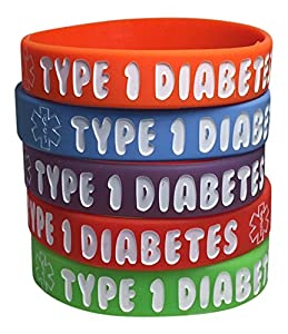 Kid's Type 1 Diabetes Silicone Medical Alert Bracelets(Pack of 5) Red, Orange, Purple, Green, Blue