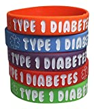 Kid's Type 1 Diabetes Silicone Medical Alert Bracelets(Pack of 5) Red, Orange, Purple, Green, Blue (6 inches)