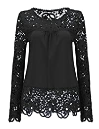 Frieed - Blusa de Gasa para Mujer, Elegante, con Encaje Hueco