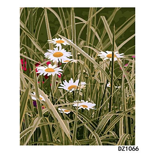 LovetheFamily 数字油絵 数字キット塗り絵 手塗り DIY絵 デジタル油絵 ホーム オフィス装飾 40x50cm 緑の草とデイジーの商品画像