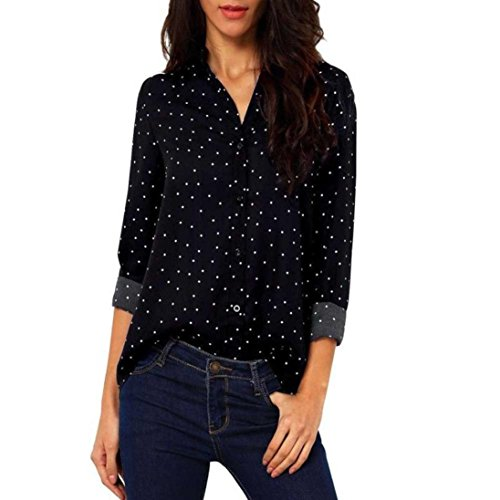 Wintialy Women Casual Dot Long Sleeve Chiffon T Shirt Loose Tops Blouse Bears Long Sleeve Layered Tee
